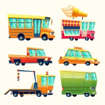 Transporte, caricatura, ícones, caricatura, público, e, passageiro, jogo escola