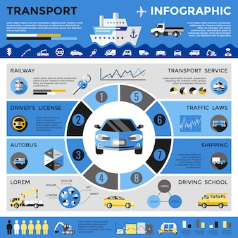 Transporte colorido infográficos
