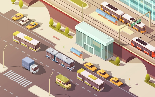 Transporte da cidade com ilustração em vetor isométrica de símbolos de ônibus e bonde de carro de bicicleta