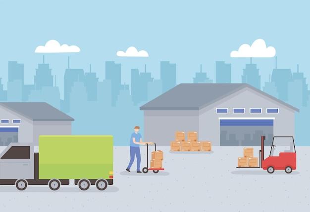 Transporte de armazém logístico