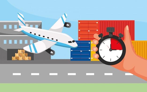 Transporte de avião e mão com localização de gps e serviço de call center