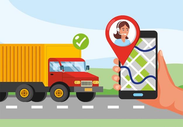 Transporte de caminhão e mão com localização de gps e serviço de call center