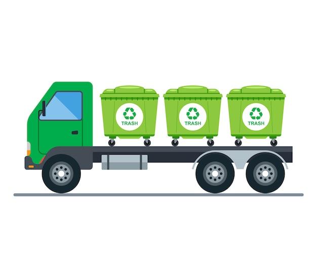 Transporte de caminhões por caixotes do lixo. ilustração plana.