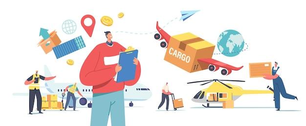 Transporte de carga aérea, logística de aeronaves, entrega de mercadorias por avião, helicóptero ou drone. personagens carregando caixas no avião e quadricóptero para envio. ilustração em vetor desenho animado