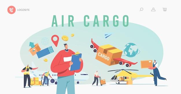 Transporte de carga aérea, modelo de página de aterrissagem de logística de aeronaves. entregando mercadorias por avião, helicóptero. personagens carregando caixas no avião para envio. ilustração em vetor desenho animado