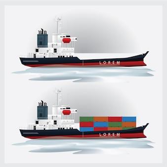 Transporte de carga com ilustração vetorial de recipientes