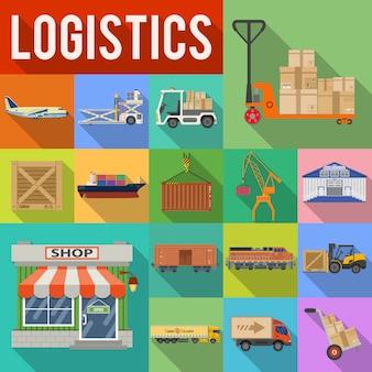 Transporte de carga e logística icon set