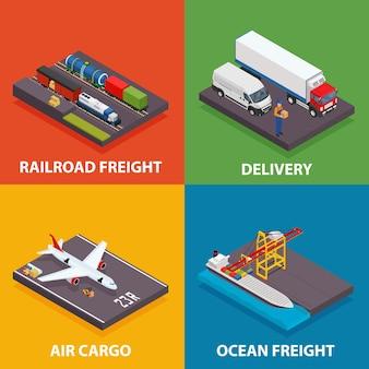 Transporte de carga, incluindo frete marítimo e ferroviário, entrega aérea, transporte rodoviário