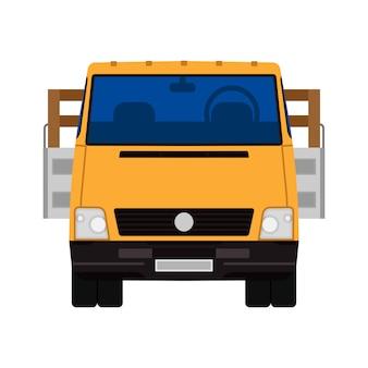 Transporte de carga isolado caminhão entrega. veículo de transporte van comercial. automóvel de logística de indústria plana
