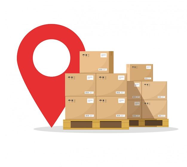 Transporte de carga logística de correio, destino online e entrega de transporte de carga
