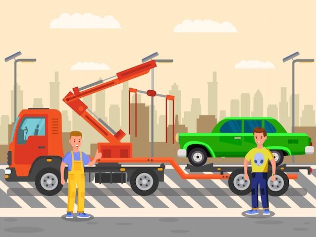 Transporte de carro, evacuando a ilustração plana de negócios