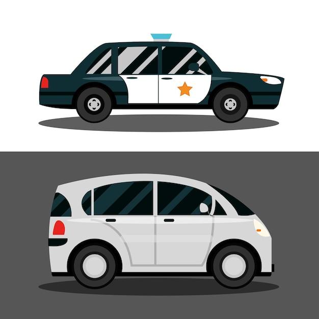Transporte de carros compactos e veículos policiais, ilustração de transporte urbano
