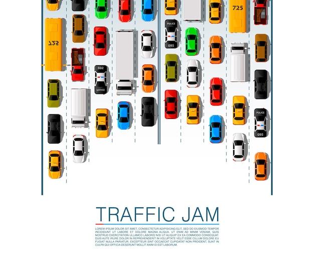 Transporte de carros rodoviários, fundo de engarrafamento. ilustração vetorial