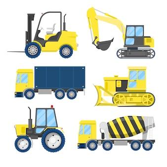 Transporte de construção industrial com caminhão e trator.