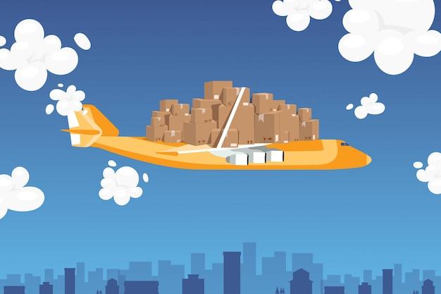 Transporte de correio de avião, ilustração definida do pacote. caixas de papelão presas com fita forte no avião, transporte