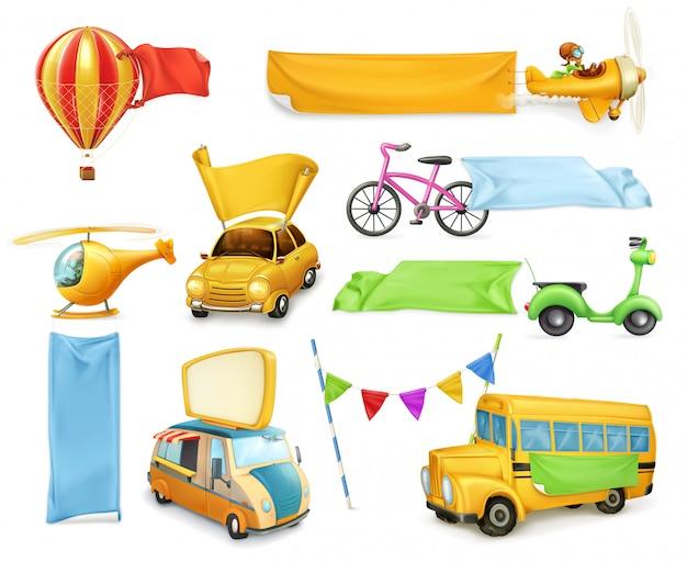 Transporte de desenhos animados, carros e aviões com banners e bandeiras, conjunto de elementos gráficos de vetor