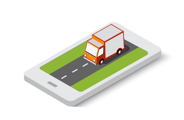 Transporte de entrega on-line transporte da cidade isométrica