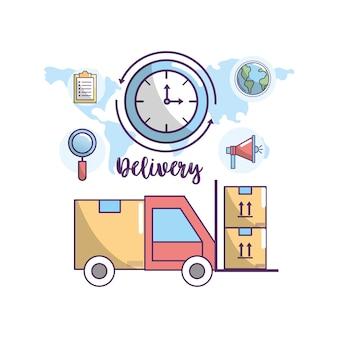 Transporte de entrega para o serviço de encomenda de encomendas