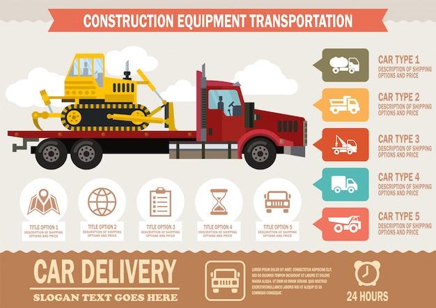 Transporte de equipamentos de construção. vetor.