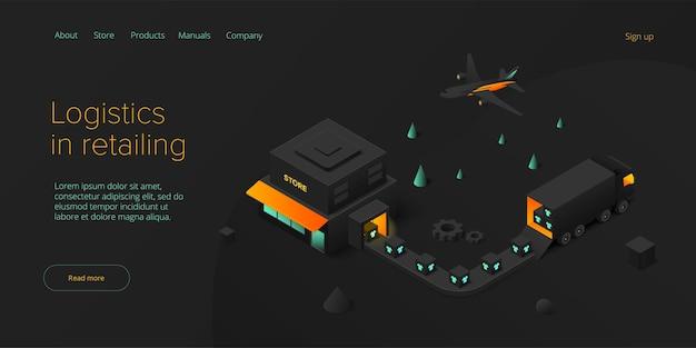 Transporte de lojas de varejo online em design isométrico serviço de entrega de lojas e logística de caminhões