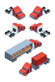 Transporte de mercadorias diversas. imagens de caminhões isométricos