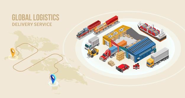 Transporte de mercadorias e armazém perto da rota de entrega