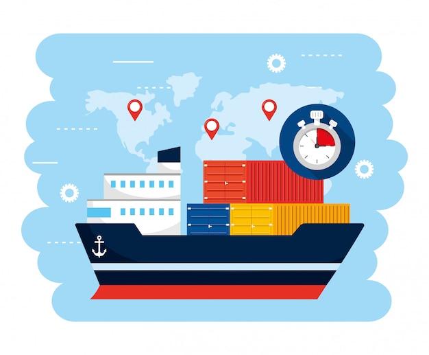 Transporte de navios com contsiners e localização global do mapa