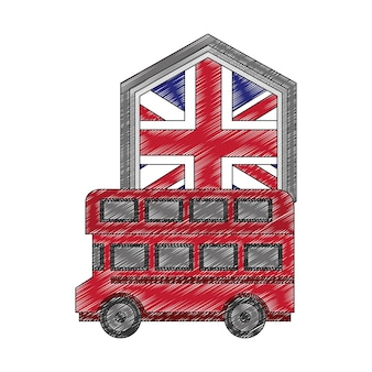 Transporte de ônibus com o emblema da bandeira da grã-bretanha