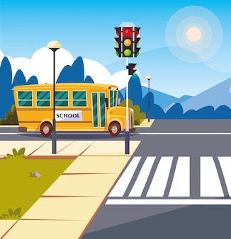 Transporte de ônibus escolar na estrada com semáforo