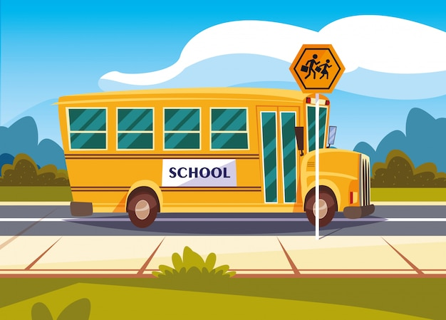 Transporte de ônibus escolar na estrada com sinalização