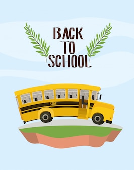 Transporte de ônibus escolar no terreno