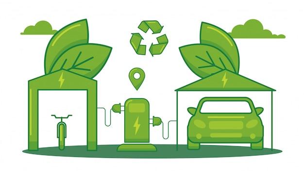 Transporte de reabastecimento elétrico, carro de refil amigável de eco isolado na ilustração vetorial branca, plana. ecologia de energia limpa, salvar ambiente ambiental.