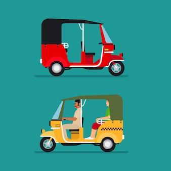 Transporte de riquixá ou táxi bebê asiático