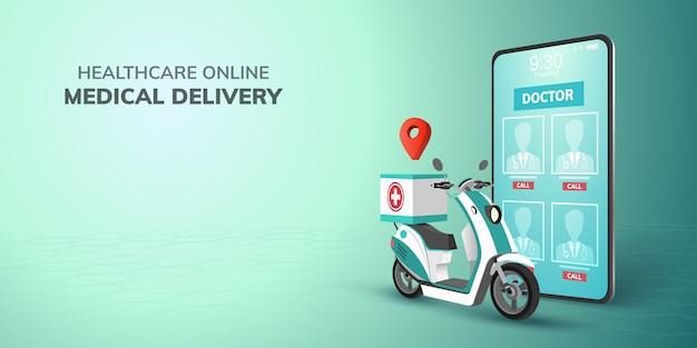 Transporte de saúde on-line digital médico entrega ícone na scooter com telefone, plano de fundo do site móvel. conceito de saúde de emergência médica. ilustração 3d. design plano. copie o espaço