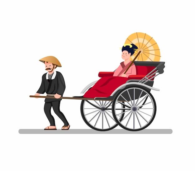 Transporte de táxi tradicional jinrikisha do japão, quimono de transporte de passageiros humano movido a vintage ou turista em ilustração plana dos desenhos animados, isolada no fundo branco