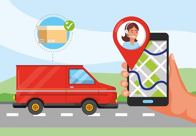 Transporte de van e mão com localização de gps e serviço de call center