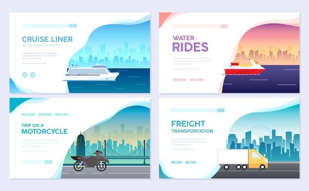 Transporte de variações de infográfico de guia turístico de viagens férias. cruzeiro, deitado no avião, viagem de carro.