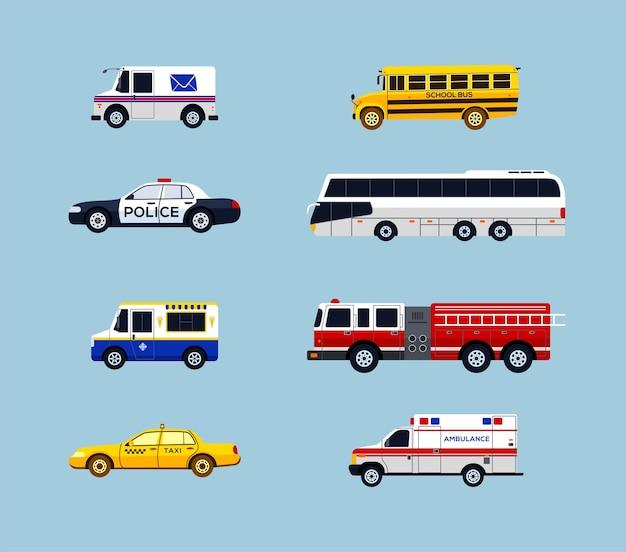 Transporte de veículos - conjunto de ícones de design plano de vetor moderno. correio, ônibus escolar, carro da polícia, táxi, ambulância, aluguel, caminhão de sorvete, carro de bombeiros. faça uma apresentação, mostre os serviços da cidade.
