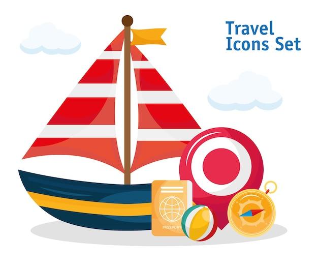 Transporte de veleiro com conjunto de viagem