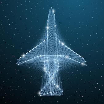 Transporte de viagens de wireframe de linha de avião. avião de voo poligonal de vista superior da aeronave abstrata no céu azul estrela. conceito de avião digital de geometria poli baixa vector.
