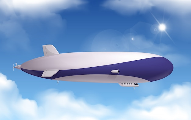 Transporte dirigível realista com céu e nuvens