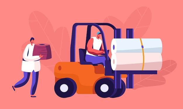 Transporte e armazenamento da produção de uma fábrica têxtil moderna. ilustração plana dos desenhos animados