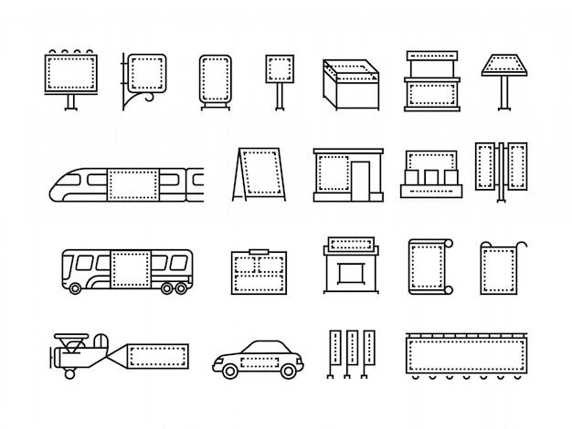 Transporte e banners de publicidade ao ar livre anunciam ícones de linha