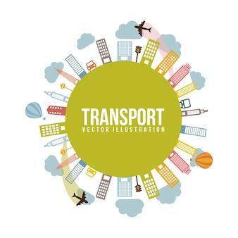 Transporte e cidade illutration de vetor de estilo vintage