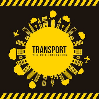 Transporte e cidade illutration vector preto e amarelo