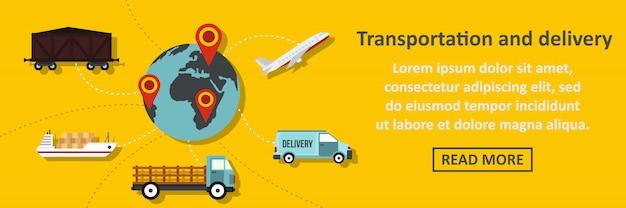 Transporte e entrega banner conceito horizontal