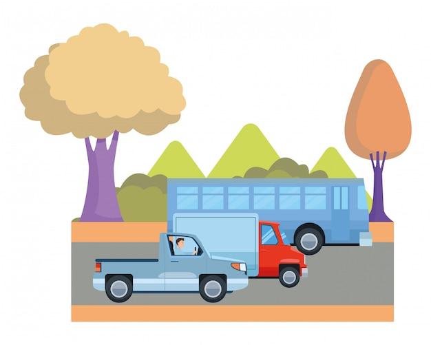 Transporte e veículos montando desenhos animados