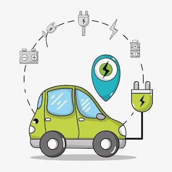 Transporte elétrico de carro com cabo de alimentação