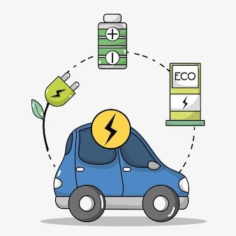Transporte elétrico de carro com tecnologia de bateria