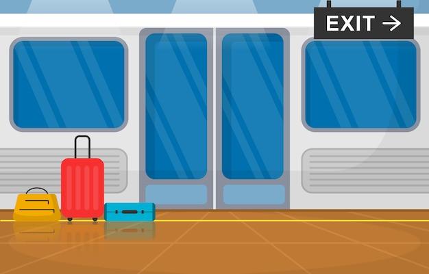 Transporte ferroviário transporte público metro porta ferroviária ilustração plana